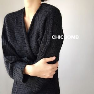 FALL FASHION MUST HAVE-Black knitted long duster